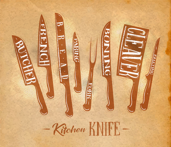 kitchen knife poster template vector 06 free download