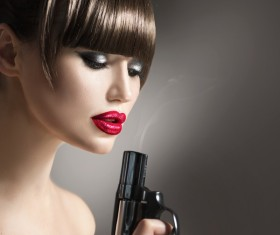 Lady with revolver Stock Photo 03