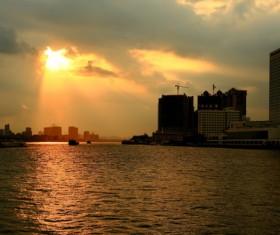 Lake sunset landscape HD picture