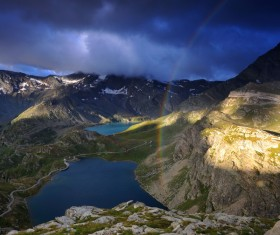 Lakes and mountains, the rainbow Stock Photo