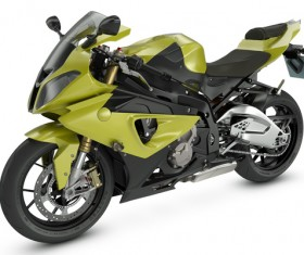 Light green motorcycle Stock Photo