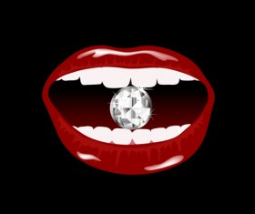 Luxury diamond and red lips vector illustration 04