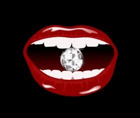 Luxury diamond and red lips vector illustration 04