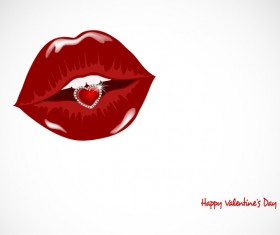 Luxury diamond and red lips vector illustration 05