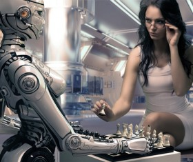 Man and Intelligent Robot Game Stock Photo