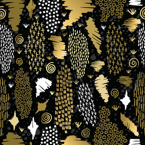 Memphis pattern gold seamless pattern vector 02