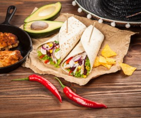 Mexican Burritos with red peppers Stock Photo 03