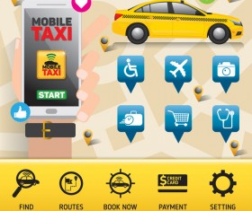 Mobile taxi service application infographic vector 01