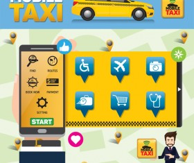 Mobile taxi service application infographic vector 02