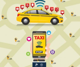 Mobile taxi service application infographic vector 03