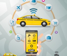 Mobile taxi service application infographic vector 04