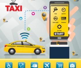 Mobile taxi service application infographic vector 05