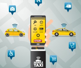 Mobile taxi service application infographic vector 06