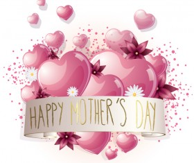 Mothers day banner with hearts and white flower vector