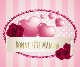 Mothers day banner with pink hearts vector card 01