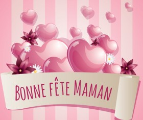 Mothers day banner with pink hearts vector card 02
