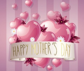 Mothers day banner with pink hearts vector card 03