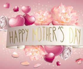 Mothers day banner with pink hearts vector card 04