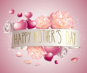 Mothers day banner with pink hearts vector card 05