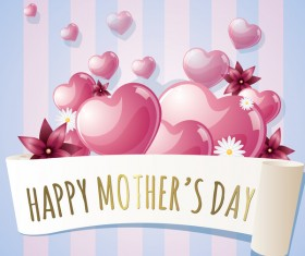 Mothers day banner with pink hearts vector card 06