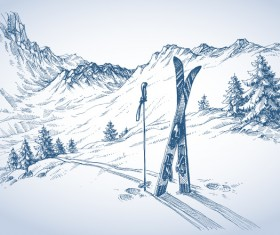 Mountains landscape with ski sketch vector 01