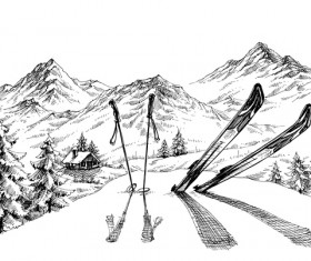 Mountains landscape with ski sketch vector 03