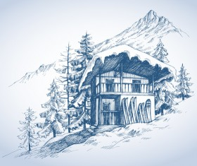 Mountains landscape with skihut hand drawn vector