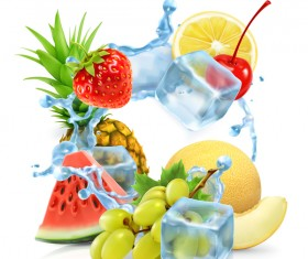 Multifruit with ice cubes and water splash vector 02