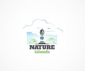 Nature islands logo design vectors