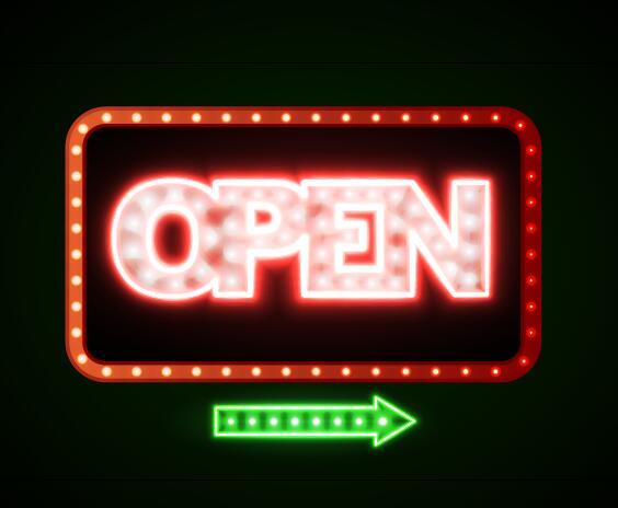 Neon open sign vector material 04