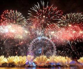 New Year fireworks around the world Stock Photo 05
