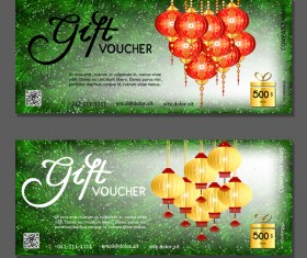 New year gift vouchers template with chinese lantern vector 01
