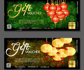 New year gift vouchers template with chinese lantern vector 02