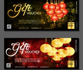 New year gift vouchers template with chinese lantern vector 03