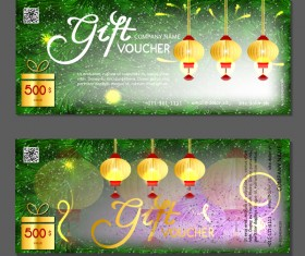 New year gift vouchers template with chinese lantern vector 04