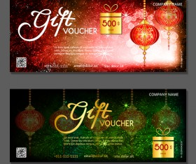 New year gift vouchers template with chinese lantern vector 05