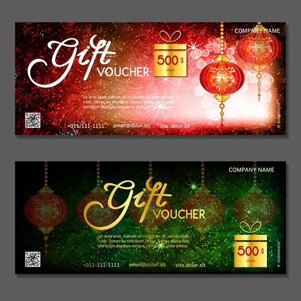 new year gift vouchers template with chinese lantern vector 05 free