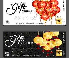 New year gift vouchers template with chinese lantern vector 06