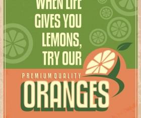 Orange poster vintage vector design