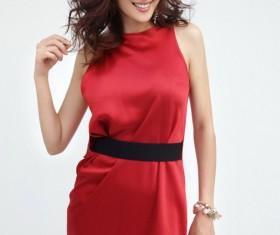Oriental beauty red dress HD picture
