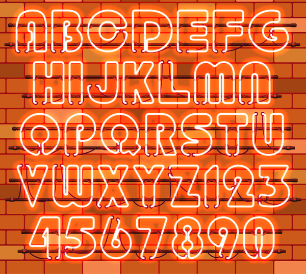 Ornage neon alphabet with numbers vector