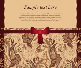 Ornate retro card with ribbon bow vector