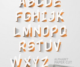 Paper cut alphabet vector material