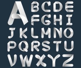 Paper ribbon alphabet vector material