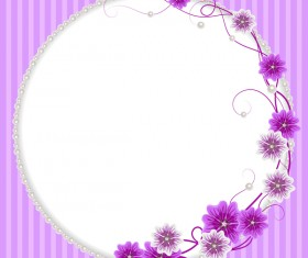 Pearl frame with purple flower vector 01