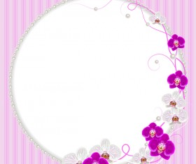 Pearl frame with purple flower vector 02