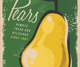 Pears poster vintage vector design 01