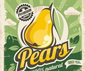 Pears poster vintage vector design 02