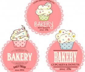 Pink bakery badge vector