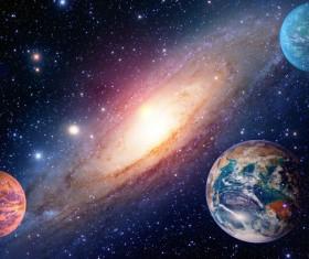 Planets and Cosmic Vortex Stock Photo